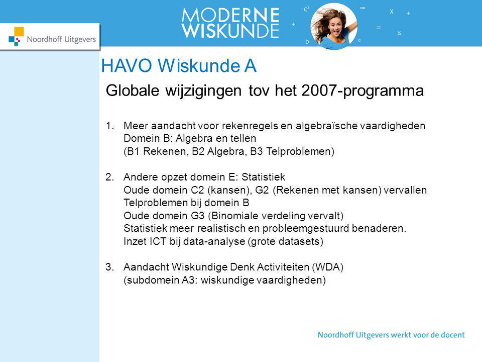 HAVO Wiskunde A Globale wijzigingen tov het 2007-programma
