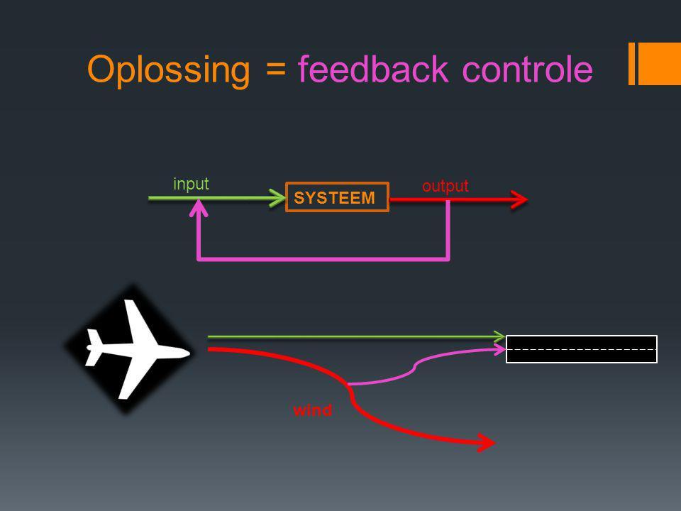 Oplossing = feedback controle