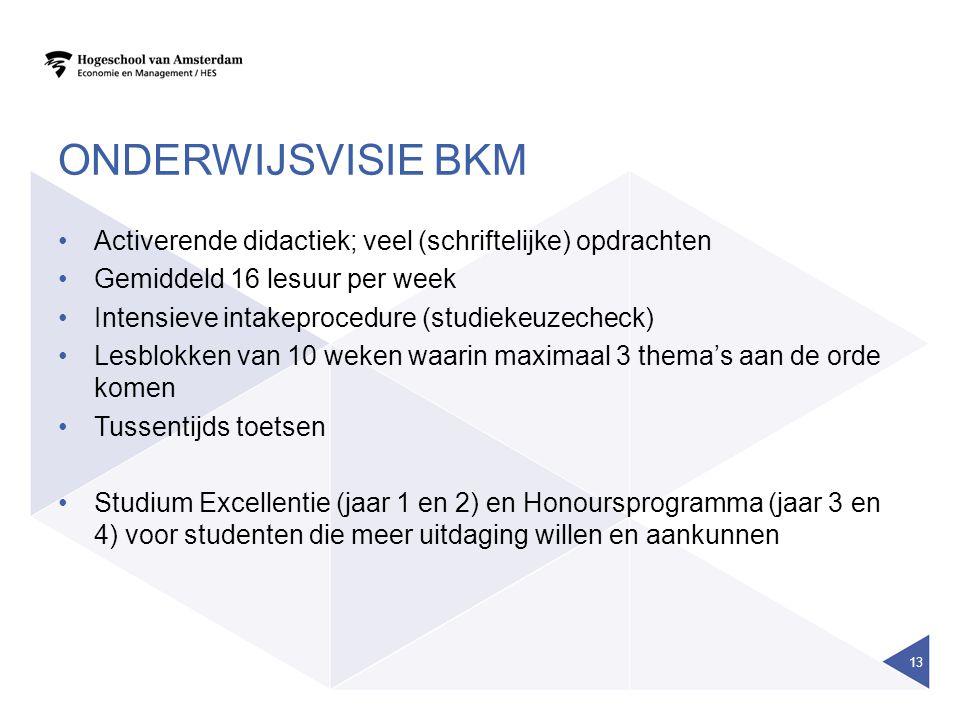 Onderwijsvisie BKM Activerende didactiek; veel (schriftelijke) opdrachten. Gemiddeld 16 lesuur per week.