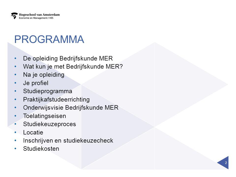 Programma De opleiding Bedrijfskunde MER