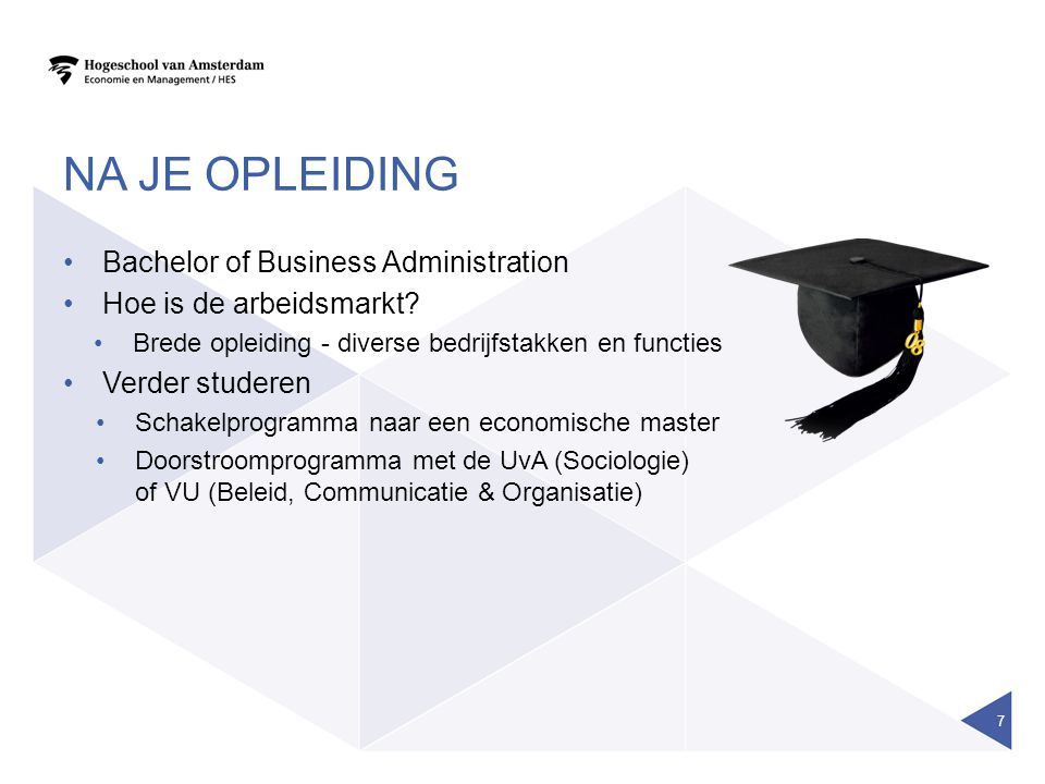 NA JE OPLEIDING Bachelor of Business Administration