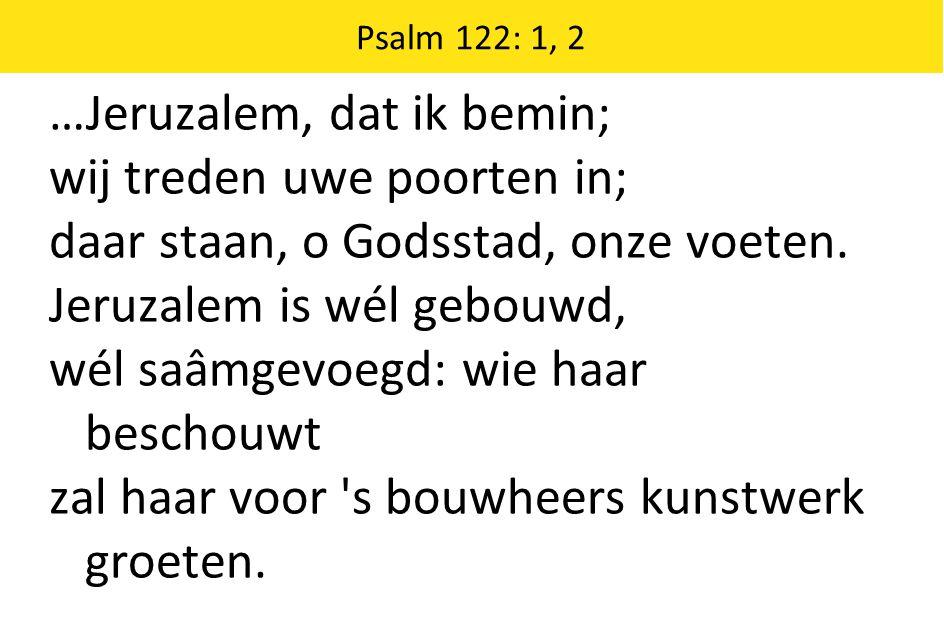 …Jeruzalem, dat ik bemin; wij treden uwe poorten in;