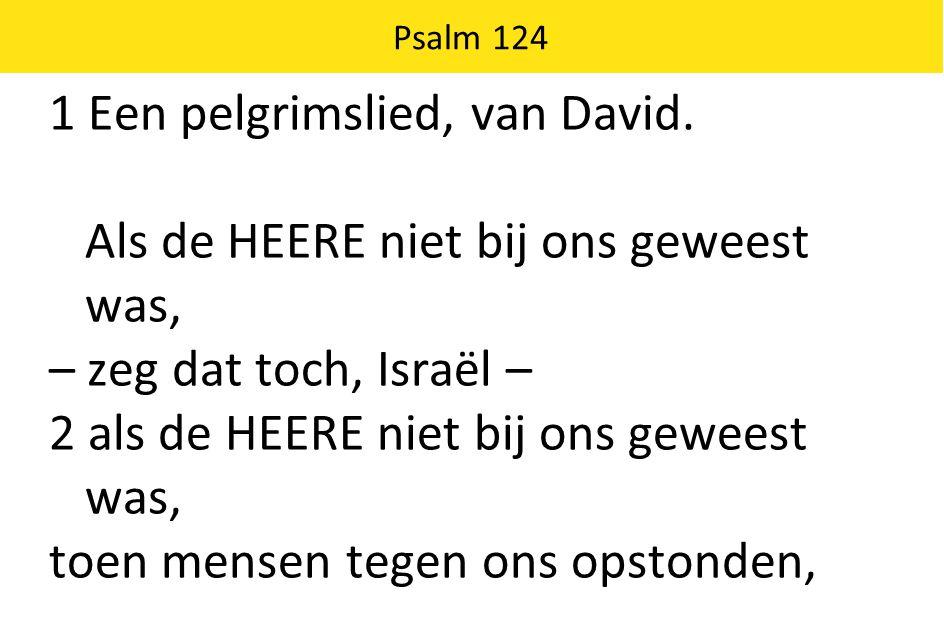 1 Een pelgrimslied, van David. Als de HEERE niet bij ons geweest was,