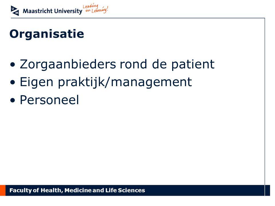 Zorgaanbieders rond de patient Eigen praktijk/management Personeel