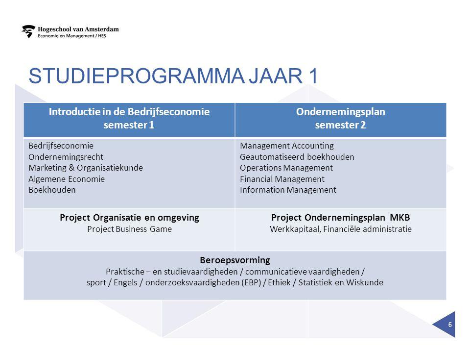 Studieprogramma jaar 1 Introductie in de Bedrijfseconomie semester 1