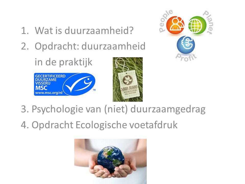 Wat is duurzaamheid Opdracht: duurzaamheid. in de praktijk. 3. Psychologie van (niet) duurzaamgedrag.