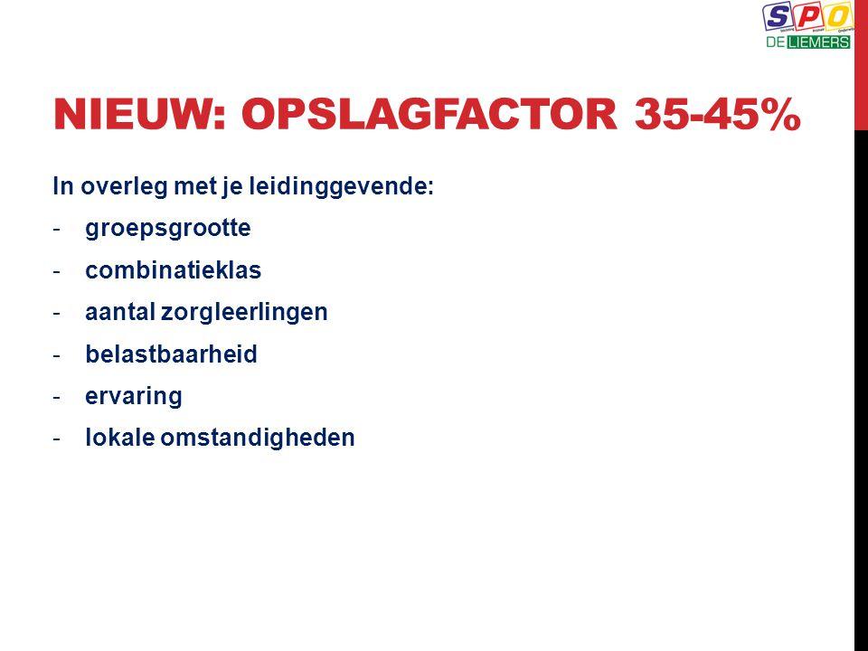 NIEUW: OPSLAGFACTOR 35-45%