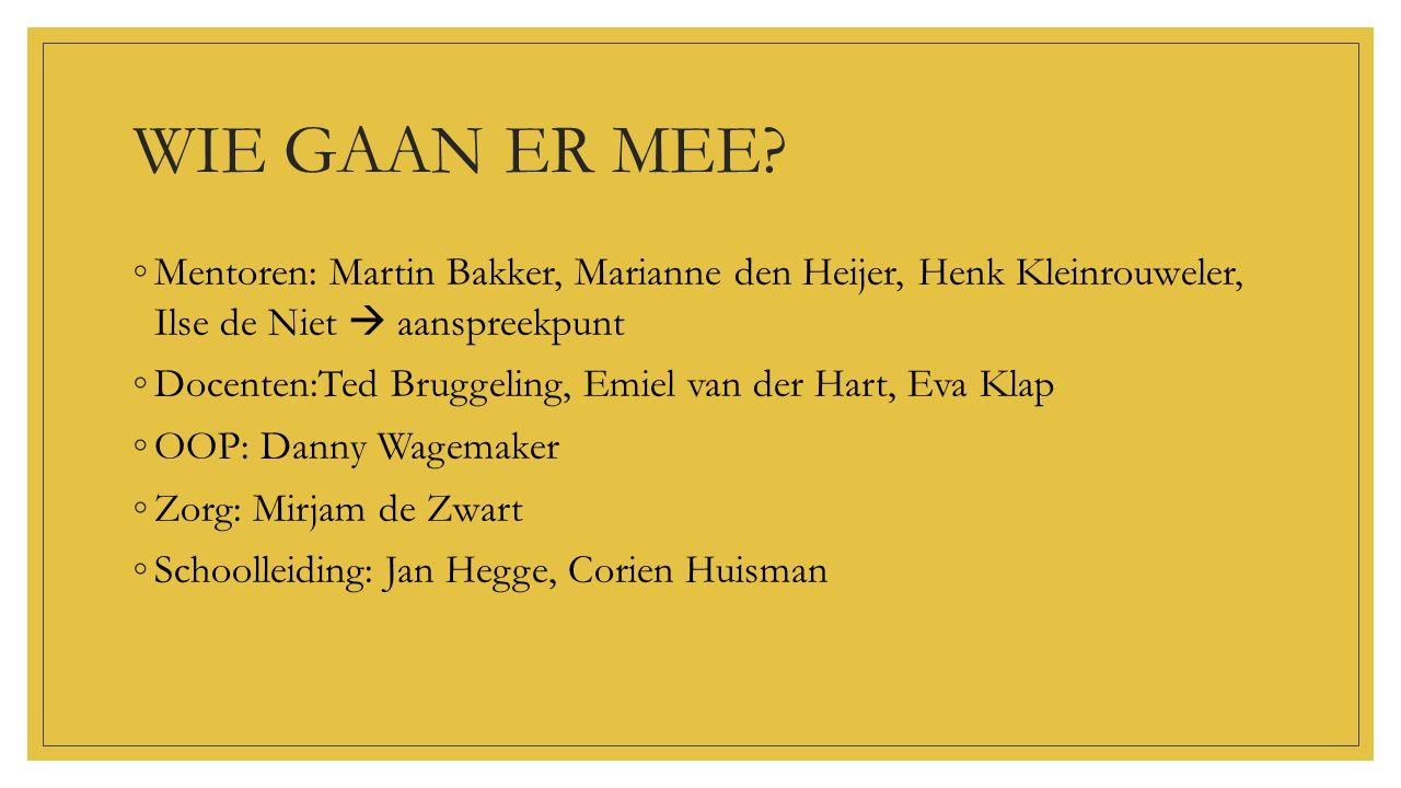 WIE GAAN ER MEE Mentoren: Martin Bakker, Marianne den Heijer, Henk Kleinrouweler, Ilse de Niet  aanspreekpunt.