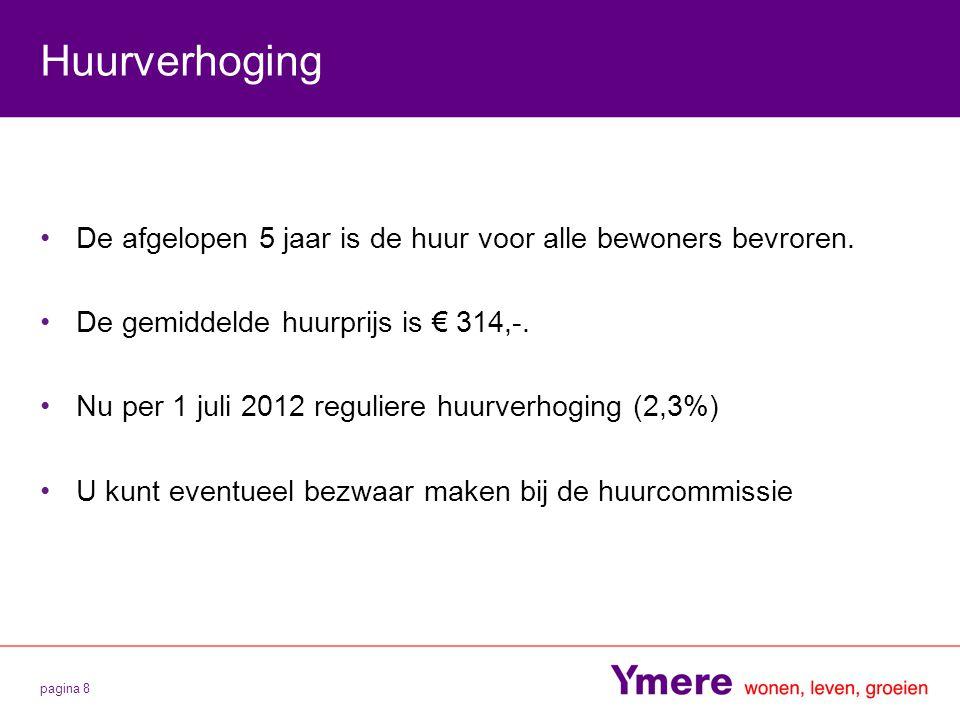 Huurverhoging De afgelopen 5 jaar is de huur voor alle bewoners bevroren. De gemiddelde huurprijs is € 314,-.