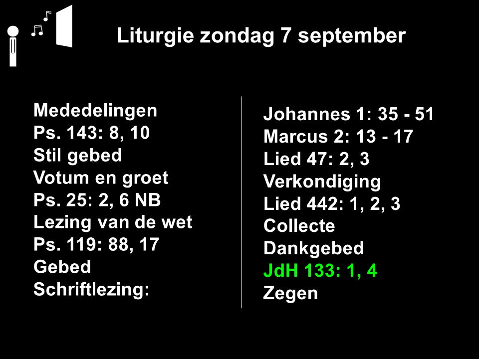 Liturgie zondag 7 september