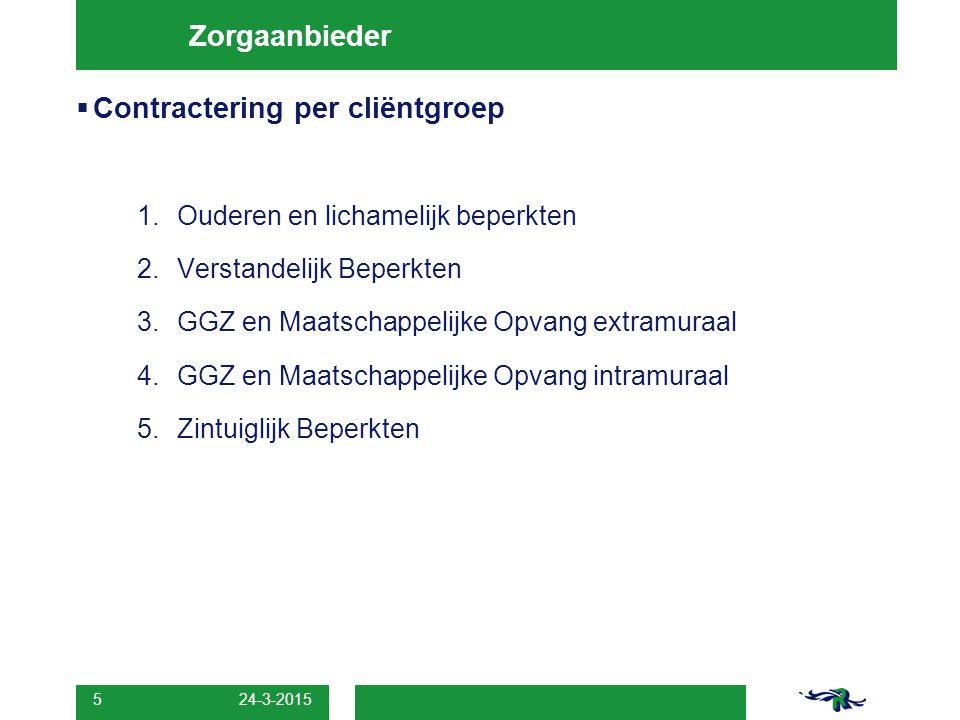 Contractering per cliëntgroep
