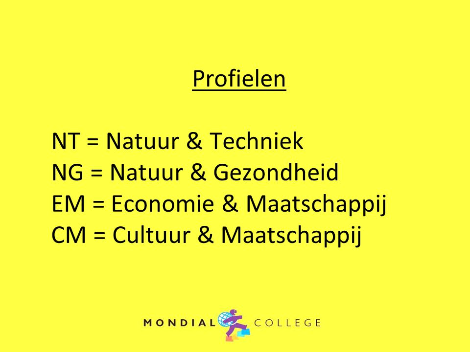 Profielen NT = Natuur & Techniek NG = Natuur & Gezondheid EM = Economie & Maatschappij CM = Cultuur & Maatschappij
