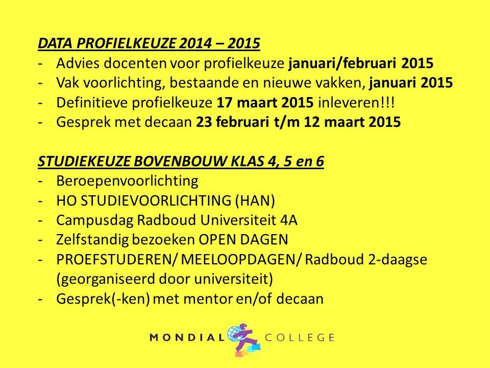 DATA PROFIELKEUZE 2014 – 2015 Advies docenten voor profielkeuze januari/februari 2015. Vak voorlichting, bestaande en nieuwe vakken, januari 2015.