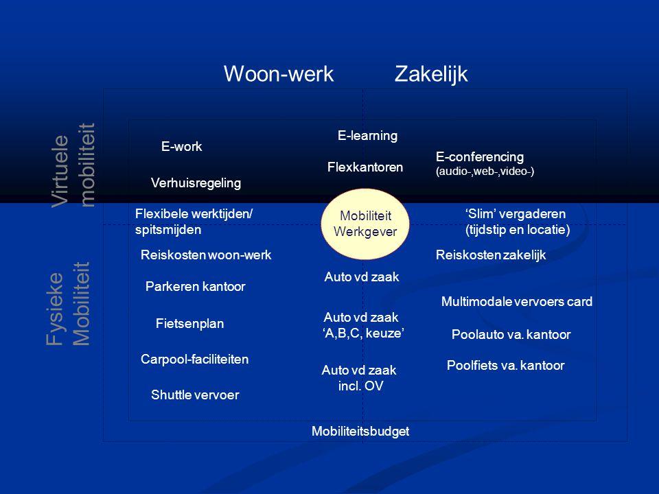 Woon-werk Zakelijk Virtuele mobiliteit Mobiliteit Fysieke E-work