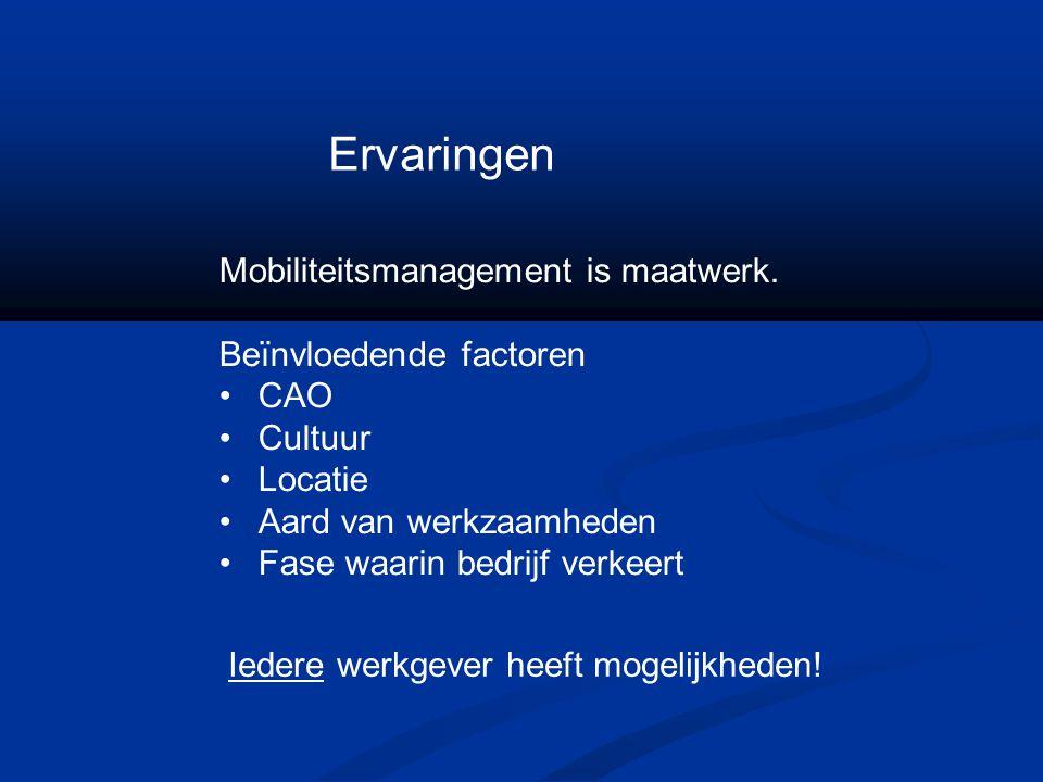 Ervaringen Mobiliteitsmanagement is maatwerk. Beïnvloedende factoren