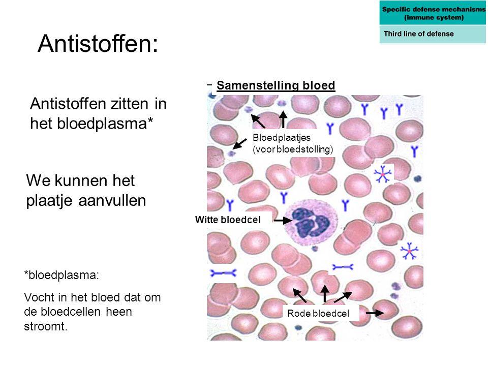 Antistoffen: Antistoffen zitten in het bloedplasma*