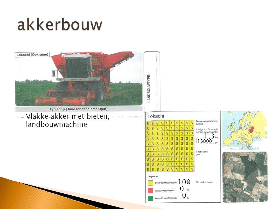 akkerbouw Vlakke akker met bieten, landbouwmachine 1,3 13000 100