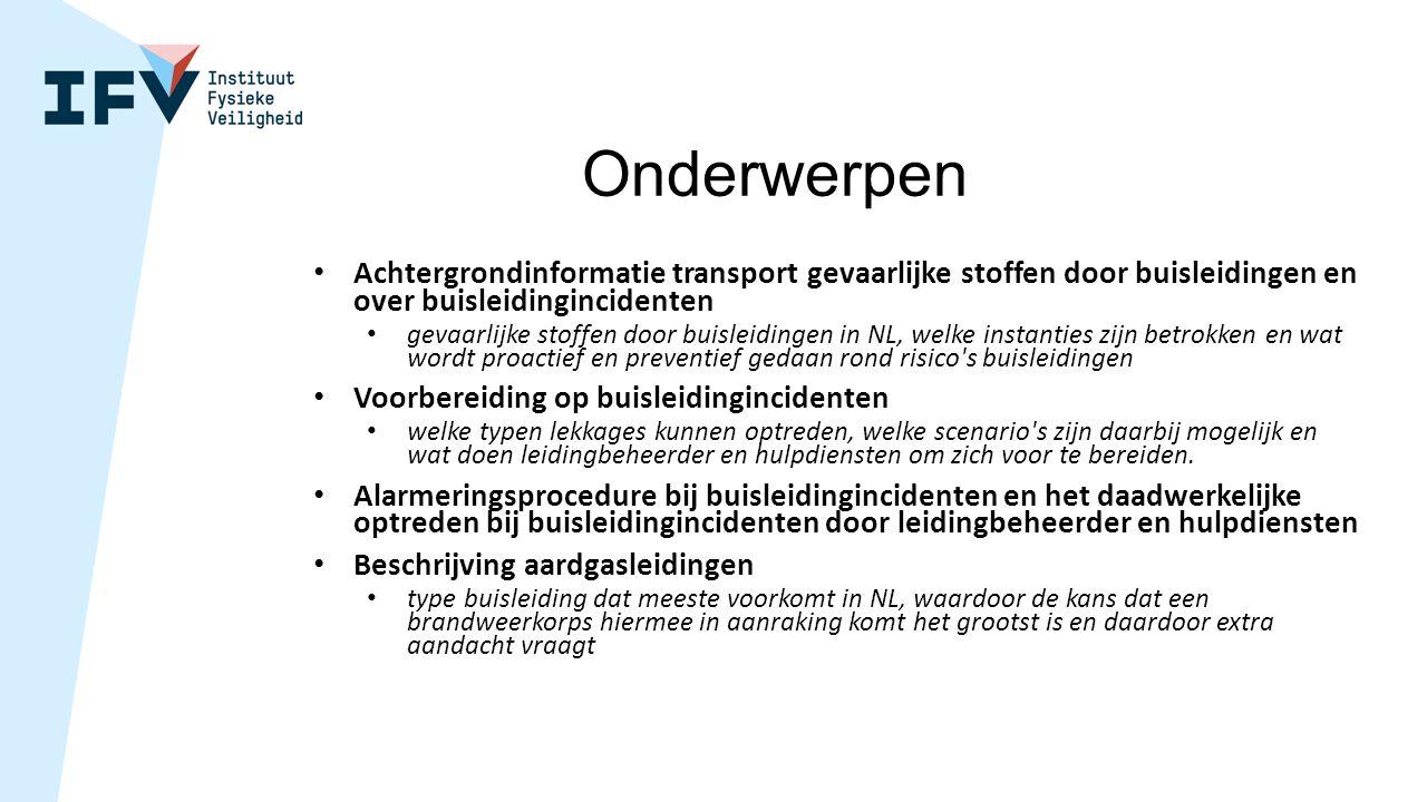 Onderwerpen Achtergrondinformatie transport gevaarlijke stoffen door buisleidingen en over buisleidingincidenten.
