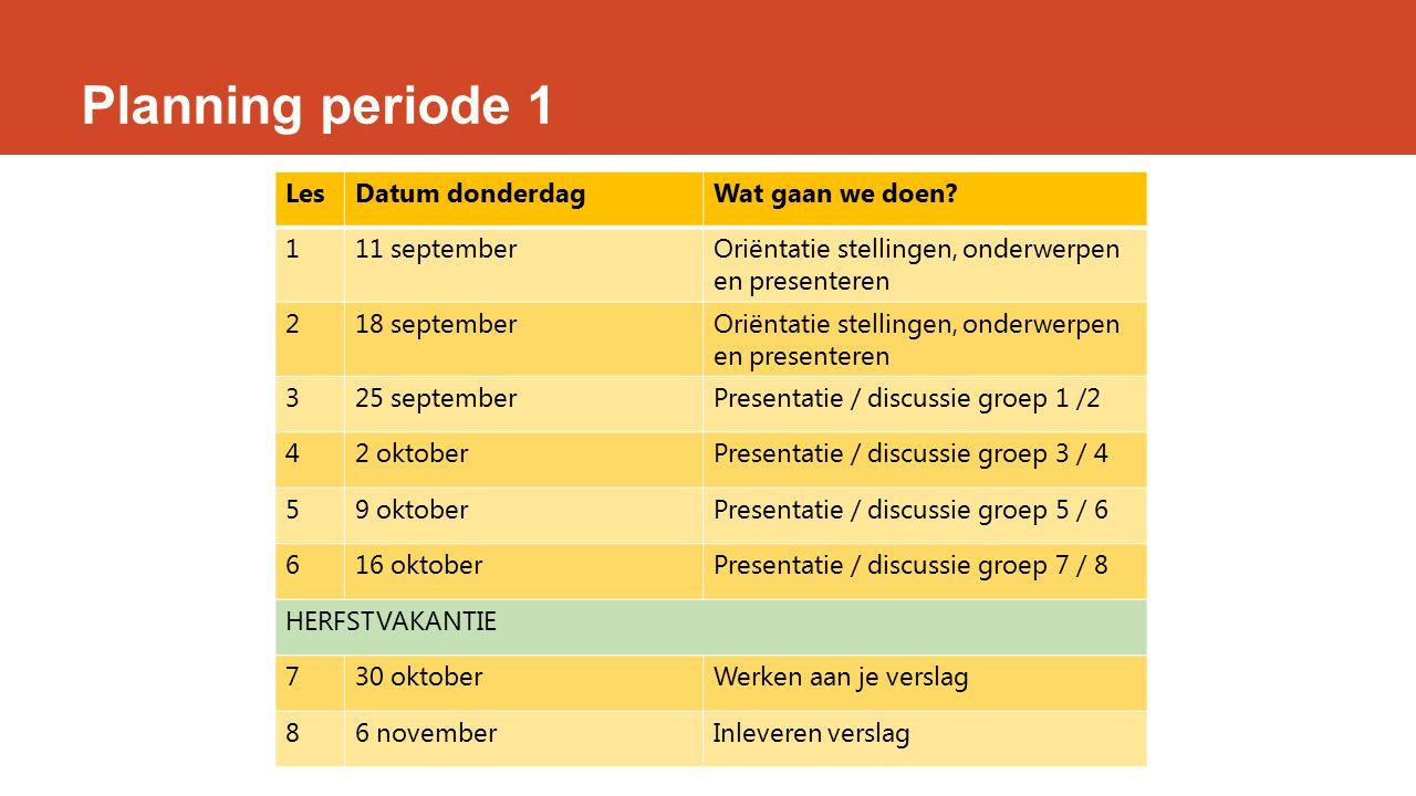 Planning periode 1 Les Datum donderdag Wat gaan we doen 1