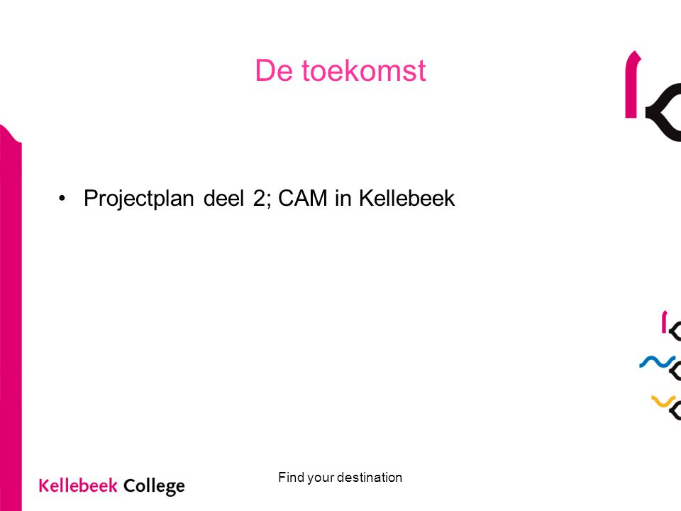 De toekomst Projectplan deel 2; CAM in Kellebeek Find your destination