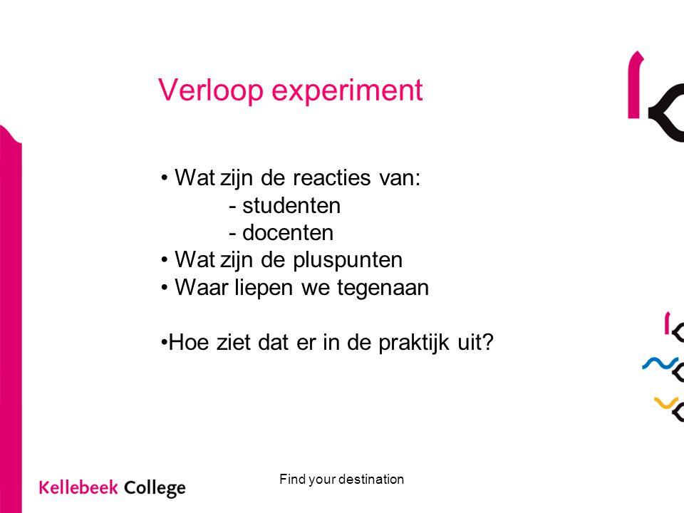 Verloop experiment Wat zijn de reacties van: - studenten - docenten