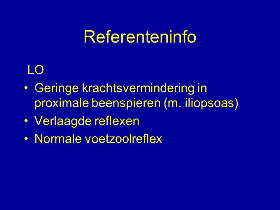 Referenteninfo LO. Geringe krachtsvermindering in proximale beenspieren (m. iliopsoas) Verlaagde reflexen.
