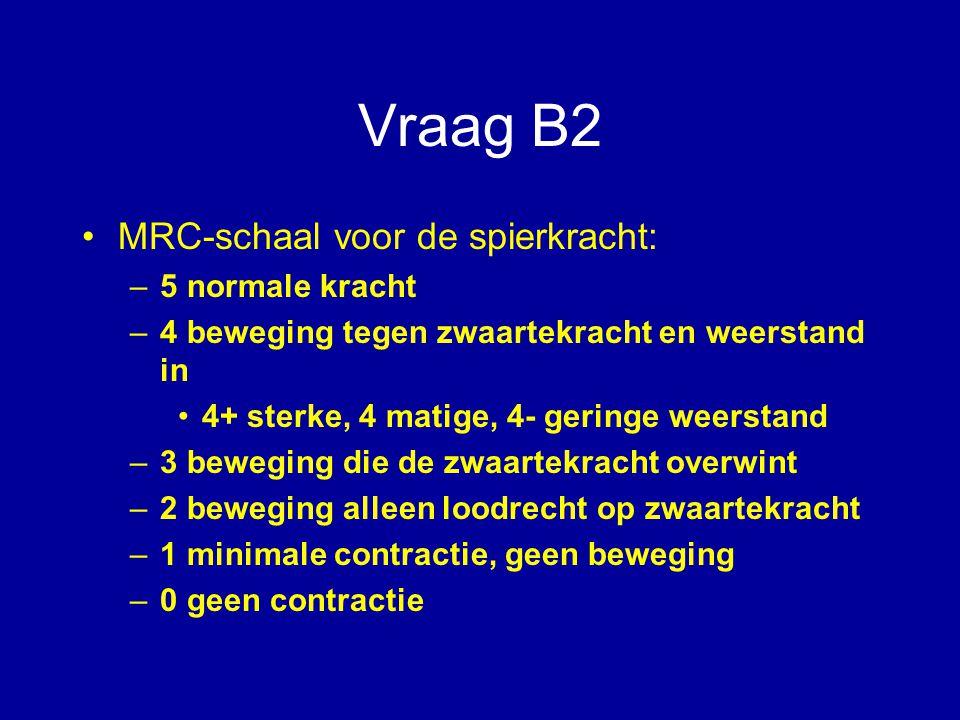 Vraag B2 MRC-schaal voor de spierkracht: 5 normale kracht