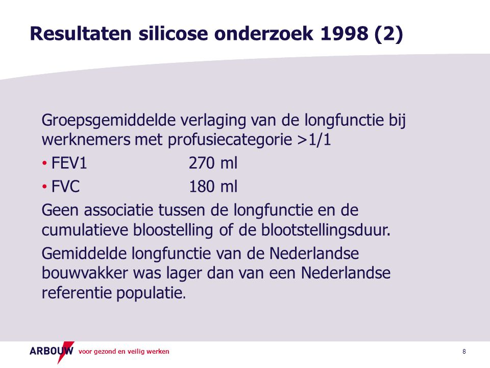 Resultaten silicose onderzoek 1998 (2)