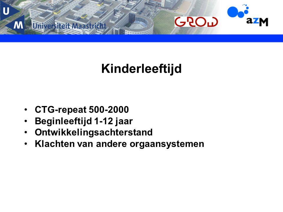 Kinderleeftijd CTG-repeat 500-2000 Beginleeftijd 1-12 jaar