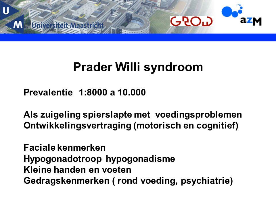 Prader Willi syndroom Prevalentie 1:8000 a 10.000