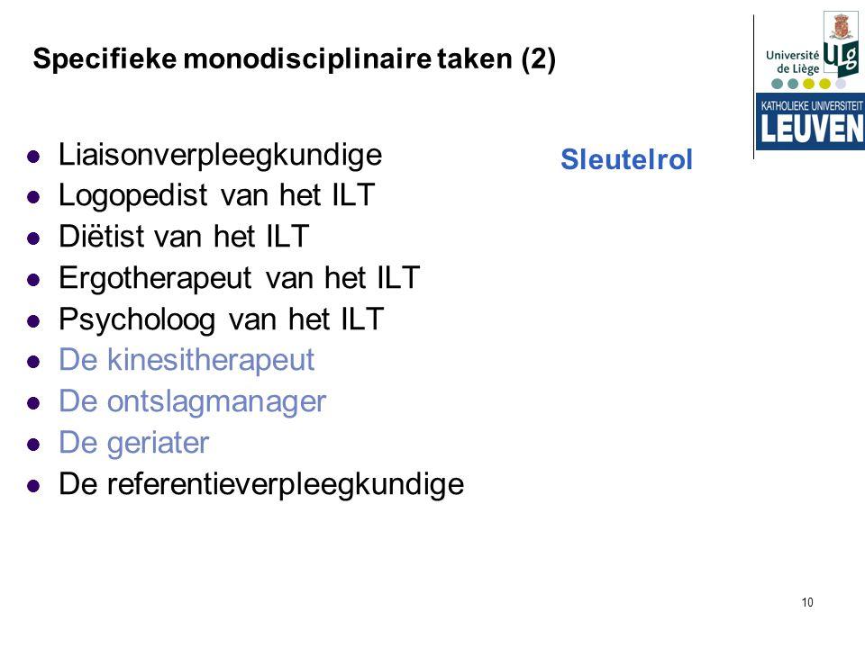 Specifieke monodisciplinaire taken (2)