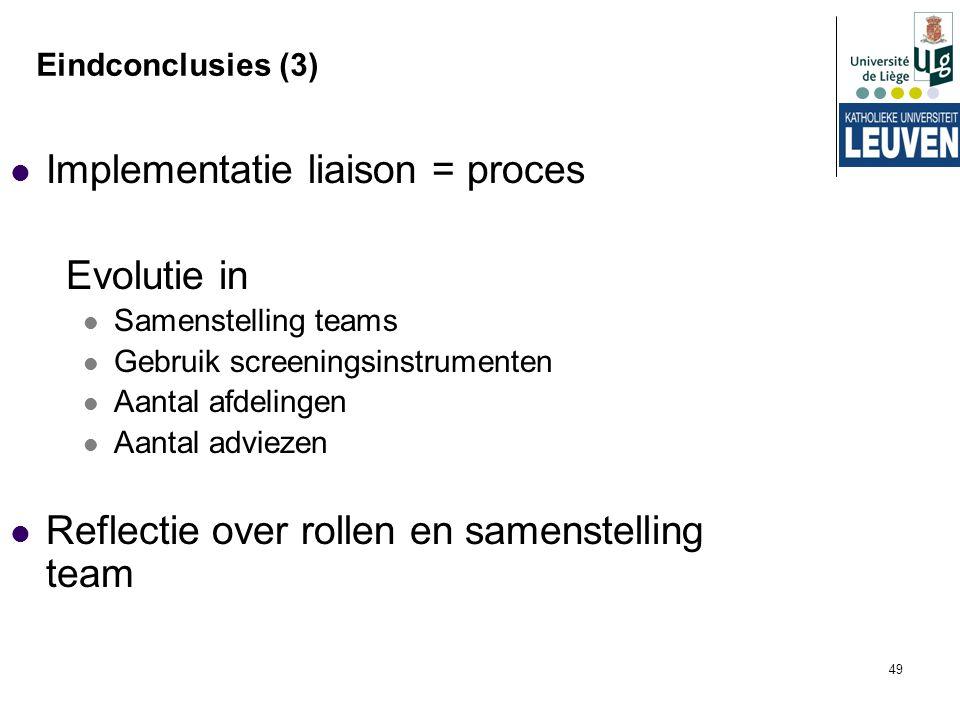 Implementatie liaison = proces Evolutie in