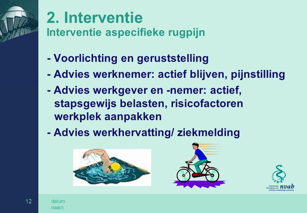 2. Interventie Interventie aspecifieke rugpijn