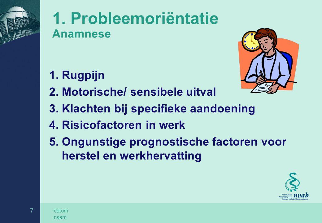 1. Probleemoriëntatie Anamnese