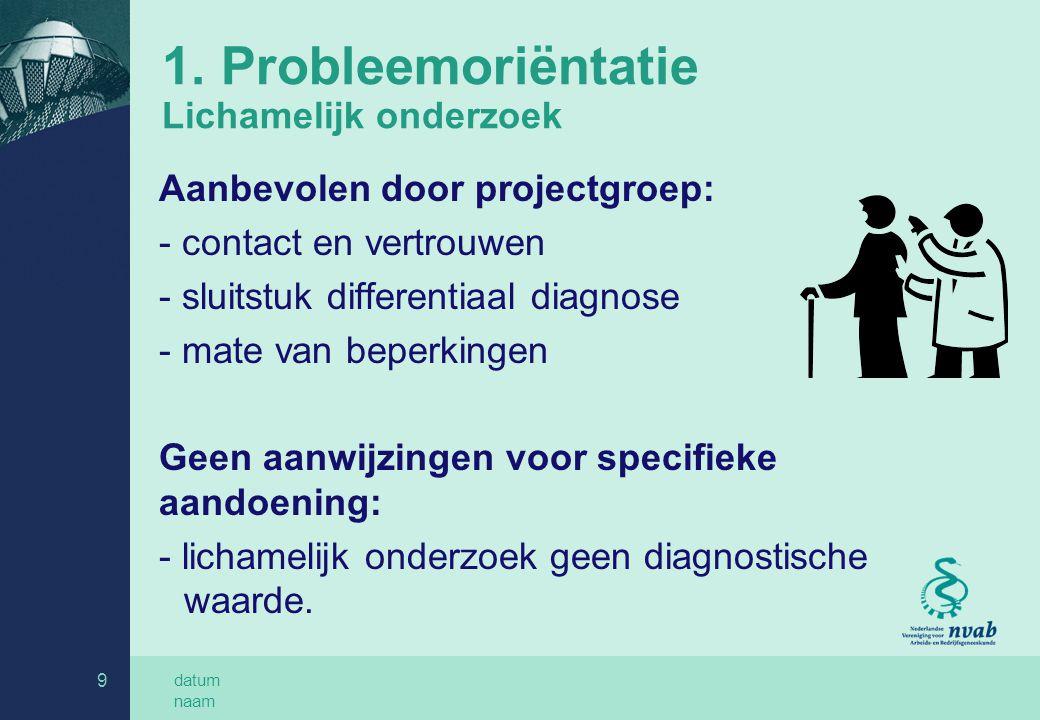1. Probleemoriëntatie Lichamelijk onderzoek