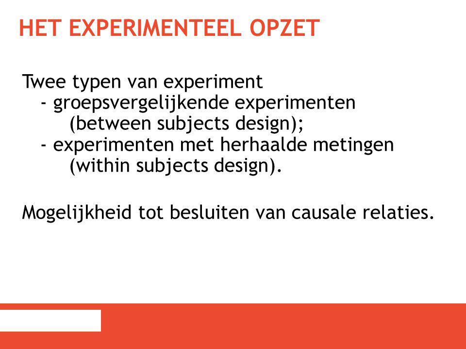 Het experimenteel opzet