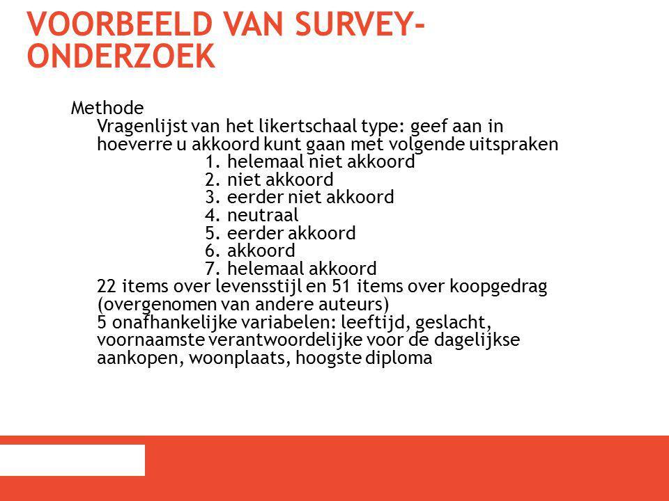 Voorbeeld van survey-onderzoek
