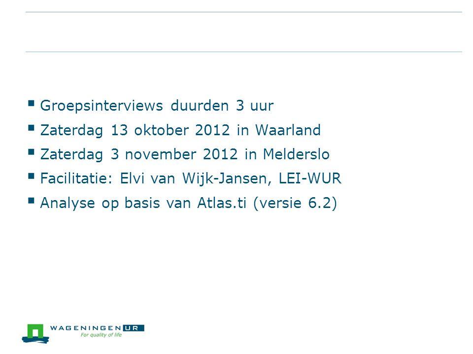 Groepsinterviews duurden 3 uur Zaterdag 13 oktober 2012 in Waarland