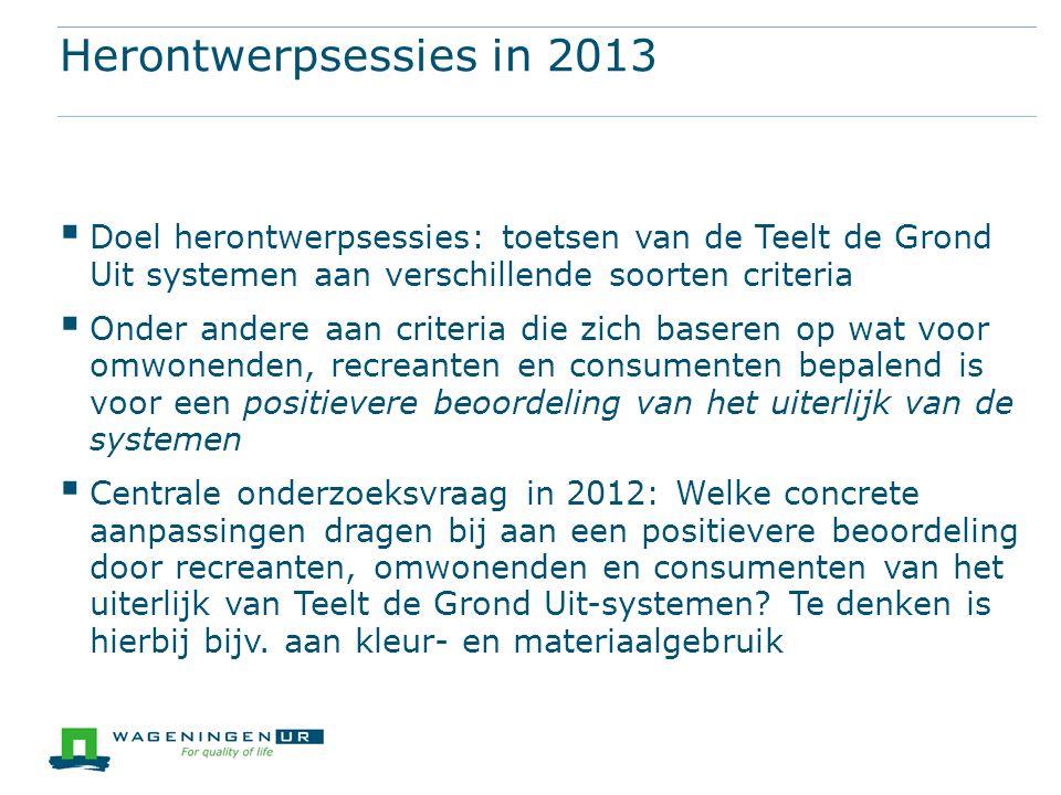 Herontwerpsessies in 2013 Doel herontwerpsessies: toetsen van de Teelt de Grond Uit systemen aan verschillende soorten criteria.
