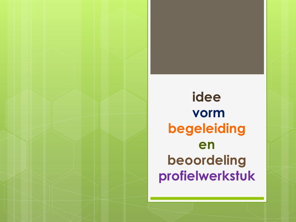 idee vorm begeleiding en beoordeling profielwerkstuk