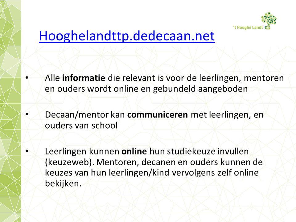 Hooghelandttp.dedecaan.net Alle informatie die relevant is voor de leerlingen, mentoren en ouders wordt online en gebundeld aangeboden.