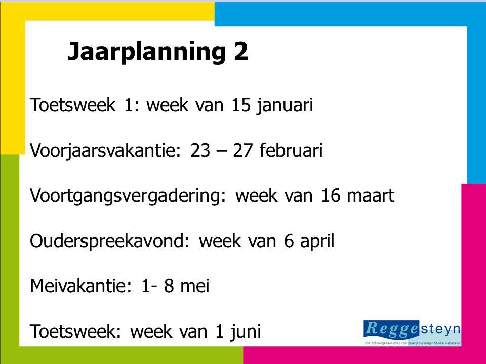 Jaarplanning 2 Toetsweek 1: week van 15 januari