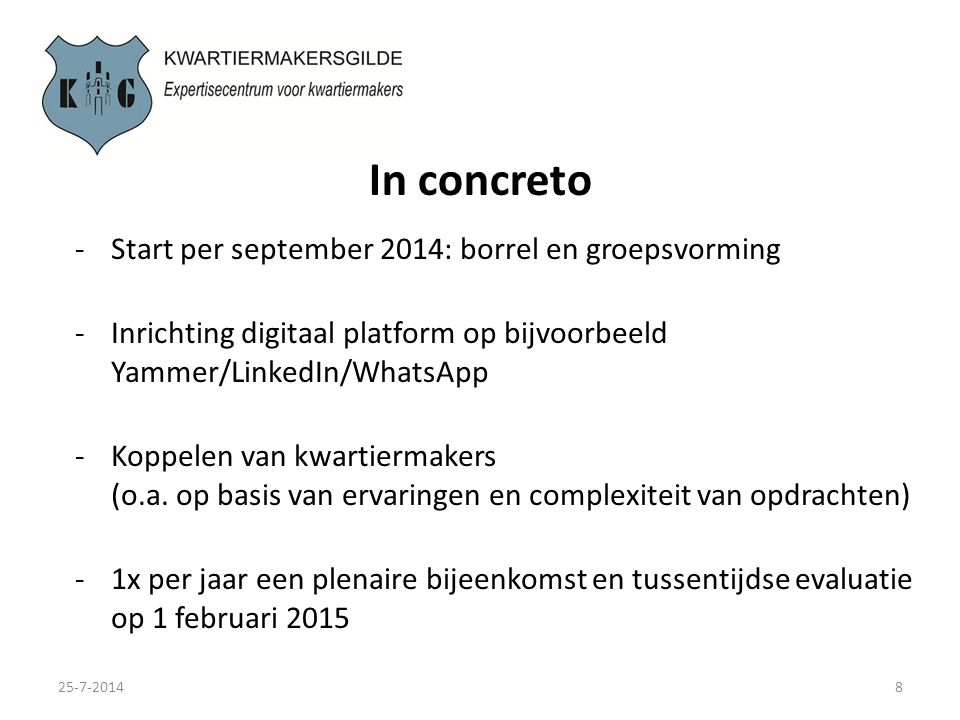 In concreto Start per september 2014: borrel en groepsvorming