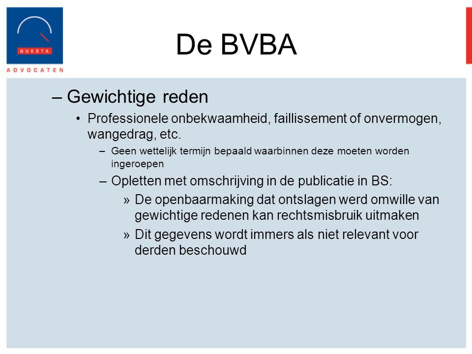 De BVBA Gewichtige reden