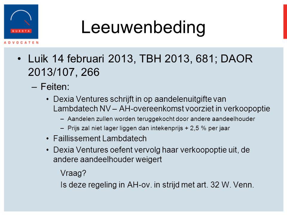 Leeuwenbeding Luik 14 februari 2013, TBH 2013, 681; DAOR 2013/107, 266