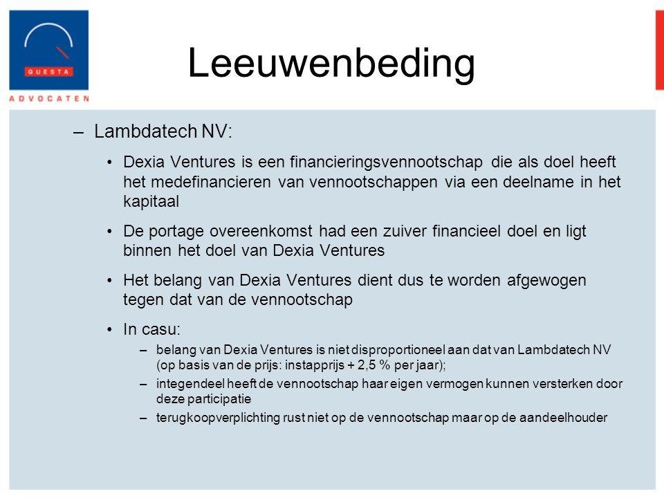 Leeuwenbeding Lambdatech NV: