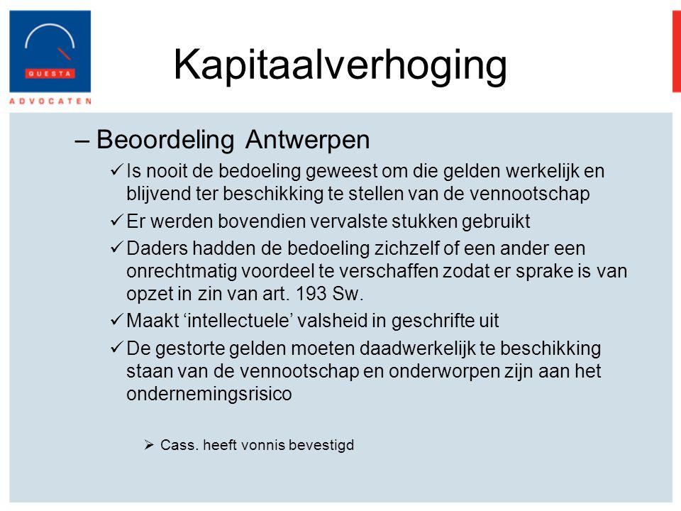 Kapitaalverhoging Beoordeling Antwerpen