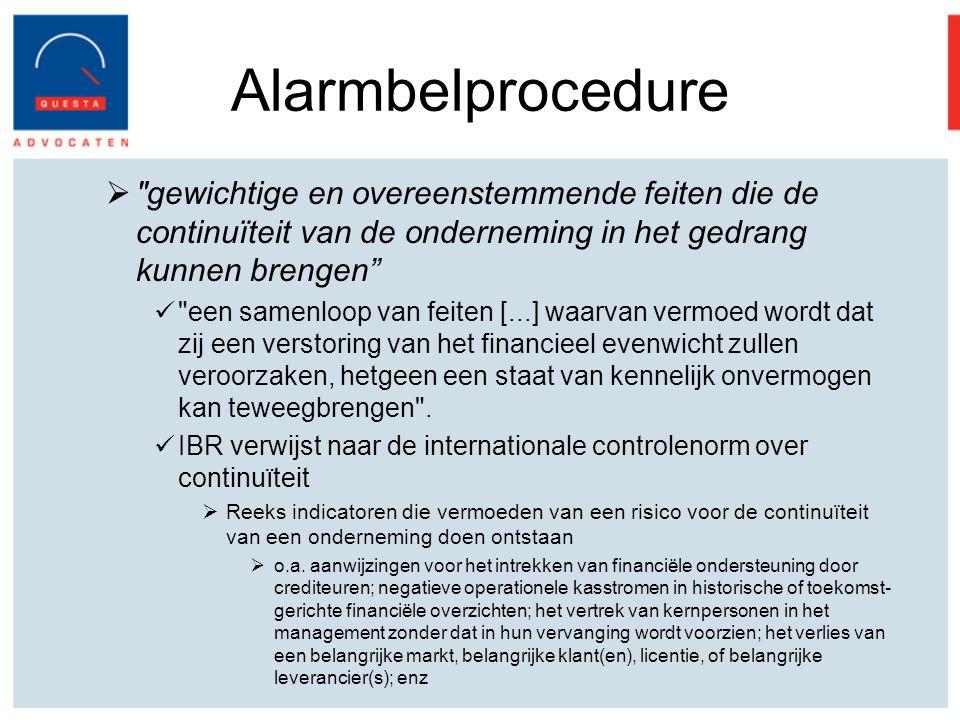 Alarmbelprocedure gewichtige en overeenstemmende feiten die de continuïteit van de onderneming in het gedrang kunnen brengen