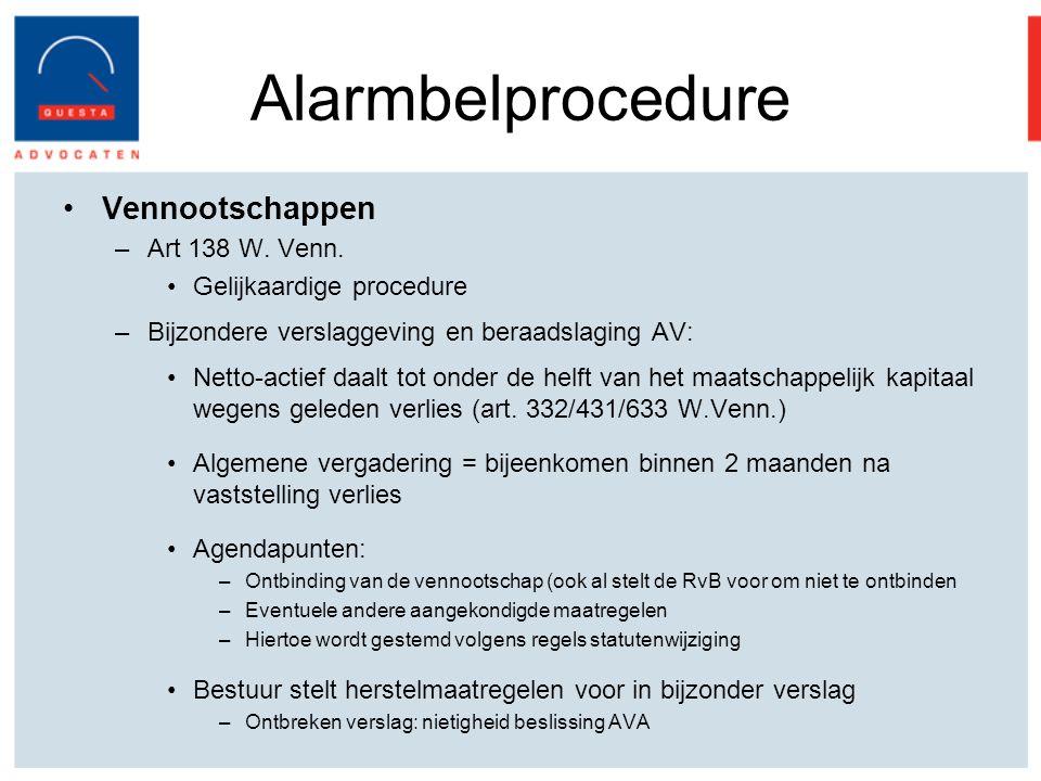 Alarmbelprocedure Vennootschappen Art 138 W. Venn.
