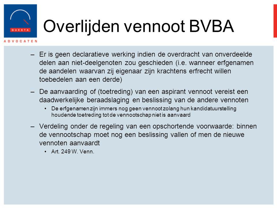 Overlijden vennoot BVBA